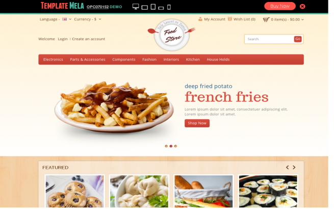 Opencart Template: Food Store OpenCart Template