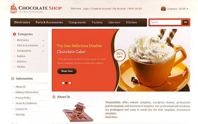 Opencart Template: Chocolate Store