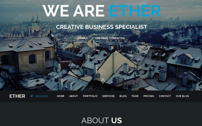 Joomla Template: One Page Multipurpose Joomla Template - Ether