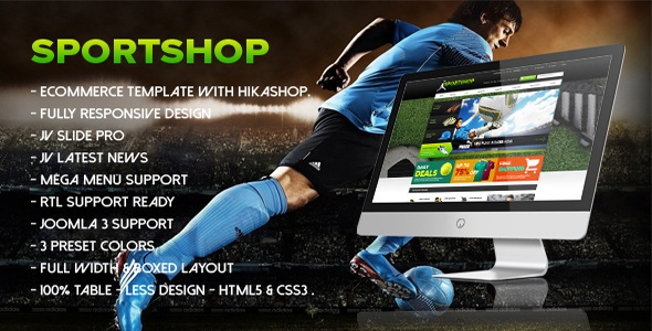 Joomla Template: JV - Sport Shop Joomla Template