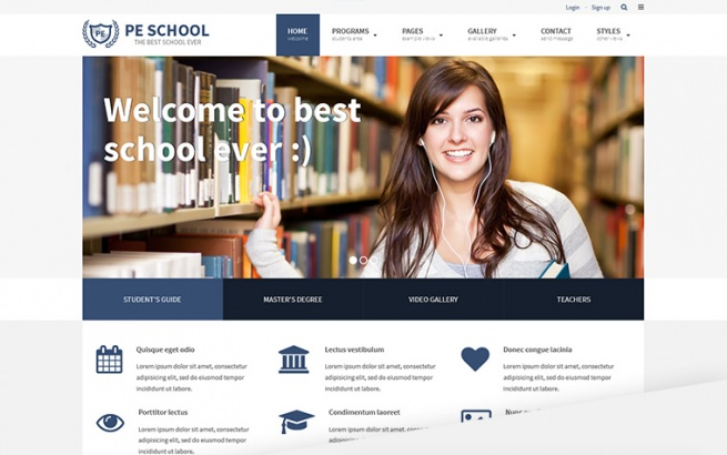 Wordpress Theme: PE School