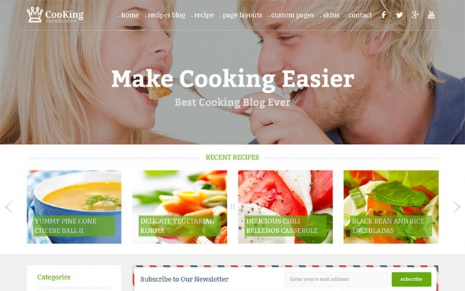 Wordpress Theme: Cooking Blog & food WordPress theme