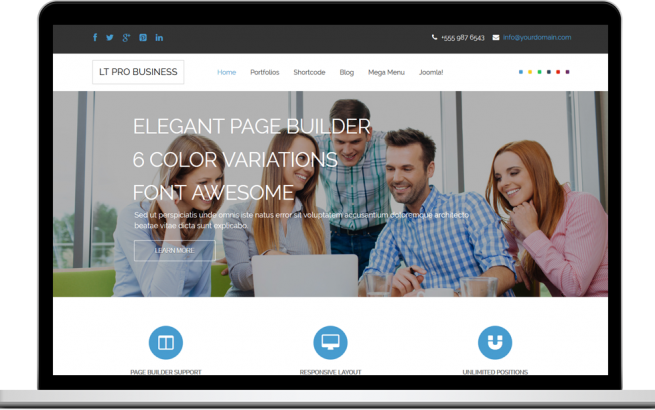 Joomla Template: LT Pro Business – Free One Page Responsive Corporation / Business Joomla template