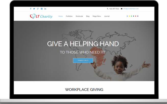 Joomla Template: LT Charity – Free One Page Responsive Non-Profit, Charity Joomla template