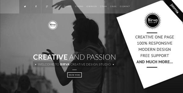 Joomla Template: Birva - Creative One Page Joomla Theme