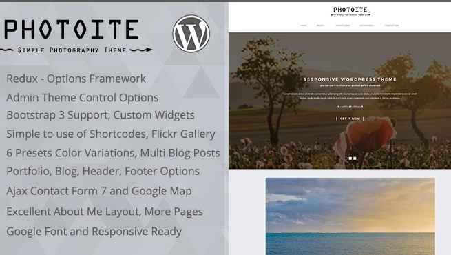 Wordpress Theme: Photoite - Responsive Photography WordPress Theme