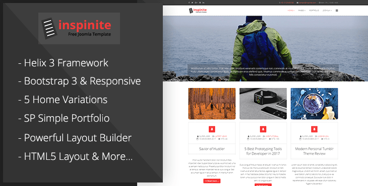 Joomla Template: Inspinite - Free Joomla Blog Template
