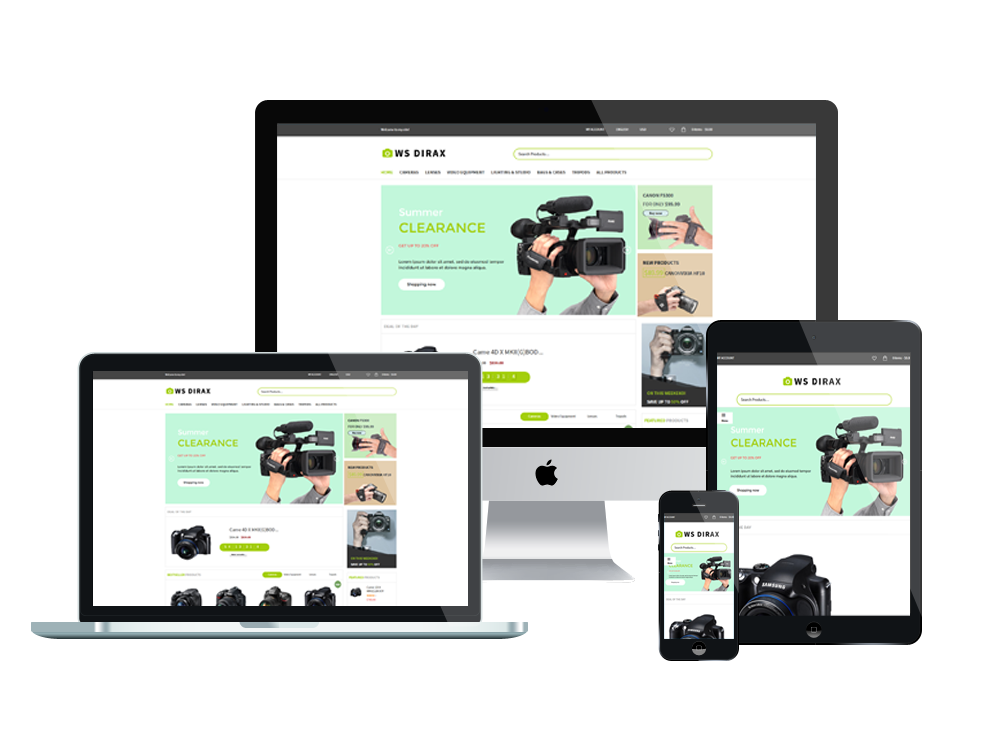 Wordpress Theme: WS DIRAX – FREE RESPONSIVE DIGITAL CAMERAS WOOCOMMERCE WORDPRESS THEME