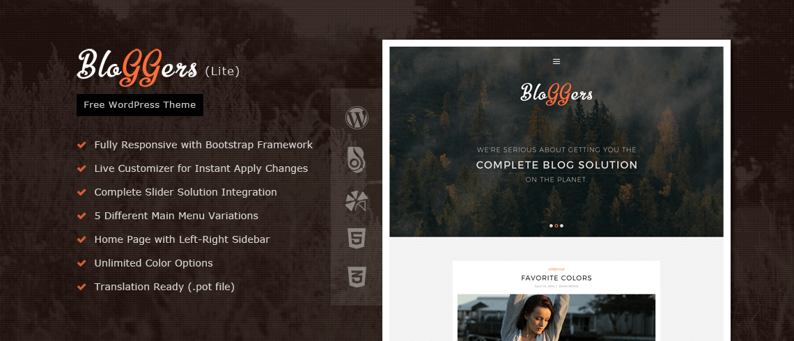 Wordpress Theme: Bloggers Lite – Free Responsive WordPress Blog Theme