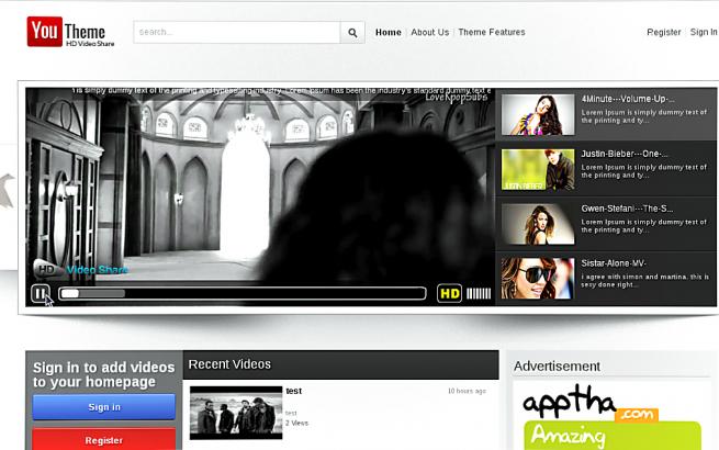 Joomla Template: Apptha Youtheme - Youtube Like Theme