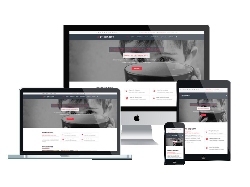 Joomla Template: ET Charity – Free Responsive Charity Joomla! Templates