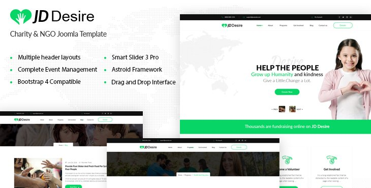 Joomla Template: JD Desire - NGO and Charity Joomla Template With Complete Event Management Solution