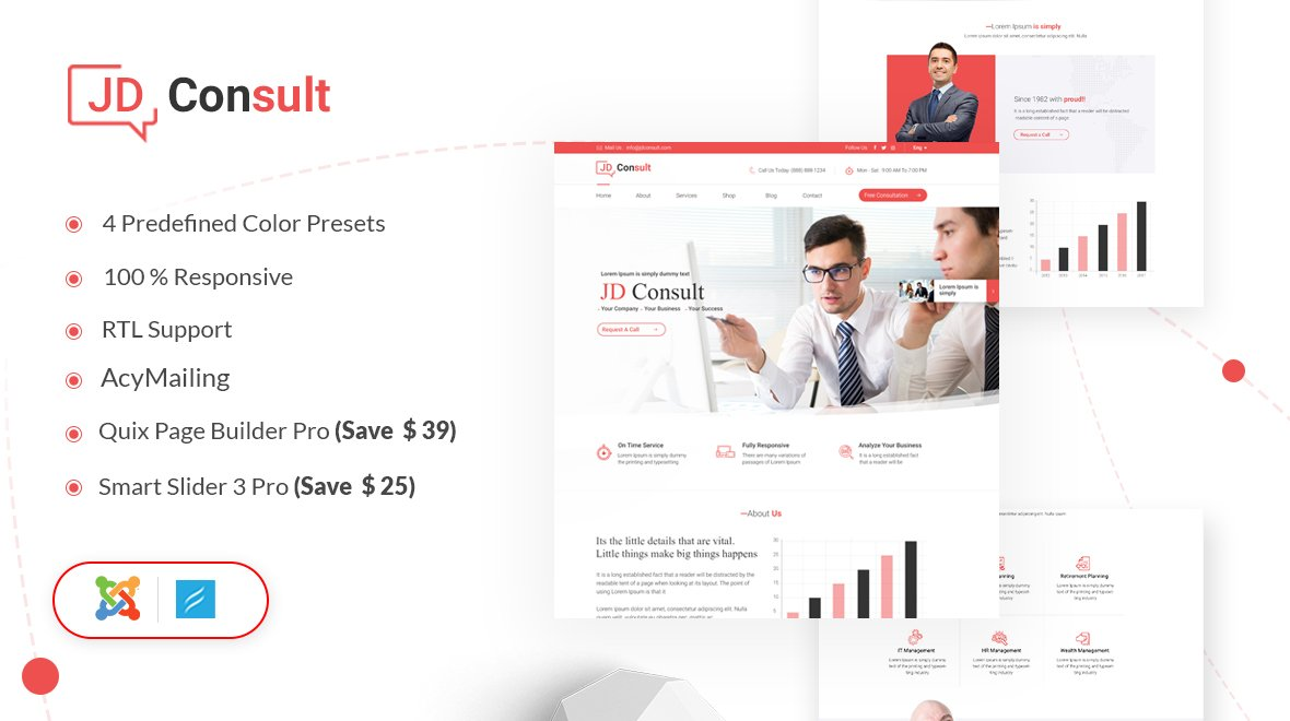 Joomla Template: JD Consult - Multipurpose & eCommerce Joomla Template