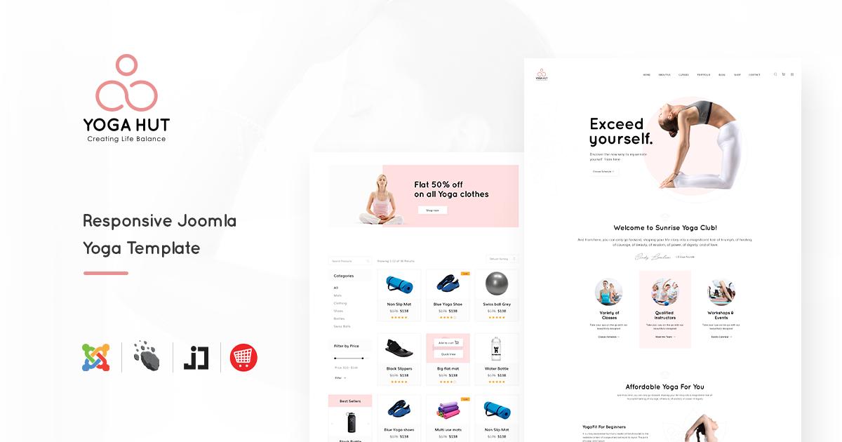 Joomla Template: JD YogaHut - Responsive Joomla Yoga Template With Online Shop