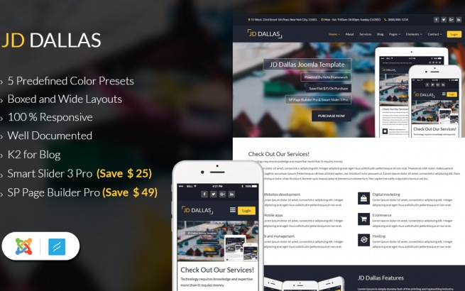 Joomla Template: JD Dallas - Responsive Joomla 3.8 Template
