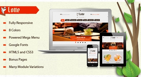 Joomla Template: SJ Lotte - The best Joomla restaurant template for K2
