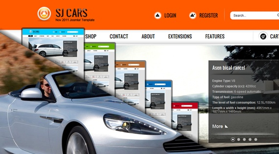 Joomla Template: SJ Cars - Technology Joomla template supporting K2