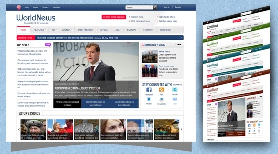 Joomla Template: SJ WorldNews - Best news Joomla template with K2