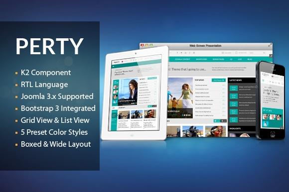 Joomla Template: SJ Perty - Responsive Joomla template for news/magazine sites