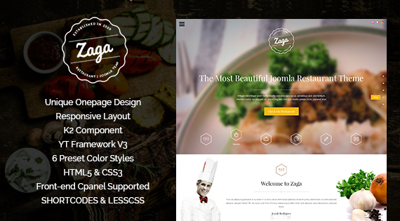 Joomla Template: SJ Zaga - Awesome Onepage Design for Restaurant Sites