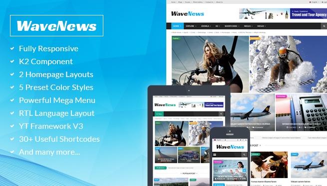 Joomla Template: SJ WaveNews - Professional News Portal Joomla Template