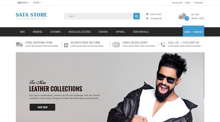 Opencart Template: Sata - Best Free Responsive eCommerce OpenCart 2.3.x Theme