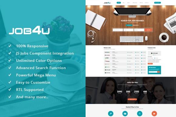 Joomla Template: SJ Job4u - Stunning Joomla Template for Job Board Websites