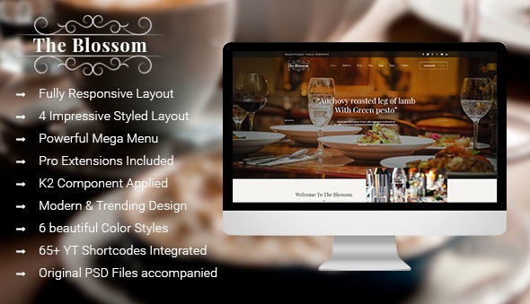 Joomla Template: SJ Blossom - Responsive Joomla Template For Restaurant/Food store