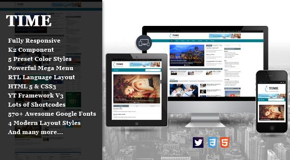 Joomla Template: SJ Time - Creative Responsive Joomla Theme for Magazine Sites