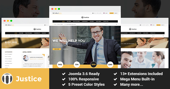 Joomla Template: SJ Justice - Law Firm Business Joomla Template