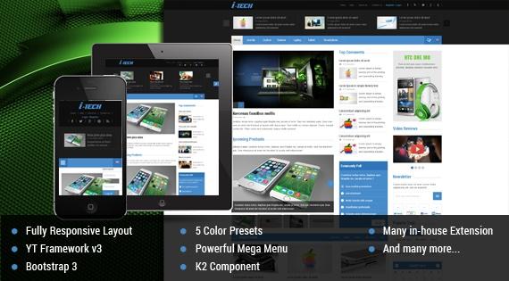 Joomla Template: SJ iTech - Modern news/magazine Joomla template