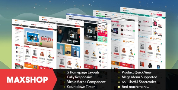 Joomla Template: SJ Maxshop - Modern & clean coded eCommerce Joomla template