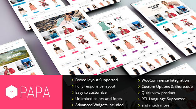 Wordpress Theme: SW Papa - Absolutely Stunning WordPress Theme for Fashion store