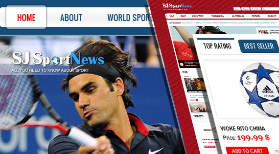 Joomla Template: SJ Sport News - Creative sports news Joomla template