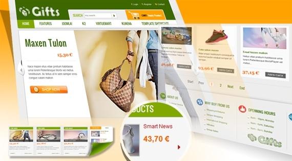 Joomla Template: SJ Gifts - Ecommerce Joomla template for VirtueMart