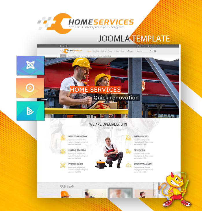 Joomla Template: DD HomeServices 125 - Joomla template for construction, renovation companies