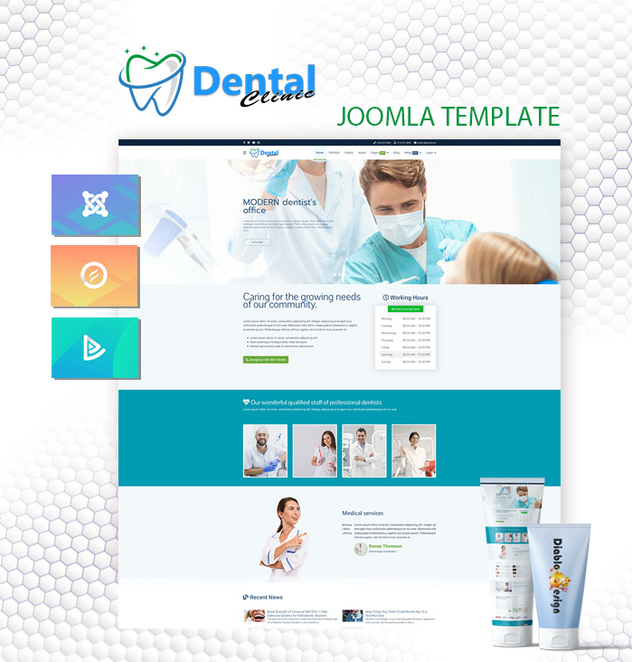 Joomla Template: DD DentalClinic 124 - Joomla Template for Dental Office