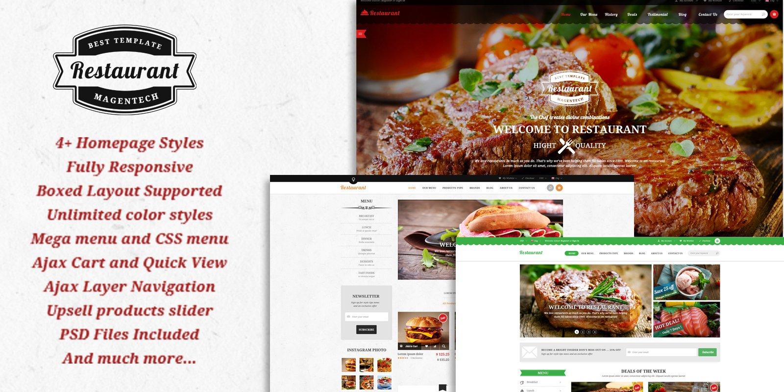 Magento Template: SM Restaurant - Responsive Restaurant Theme for Magento