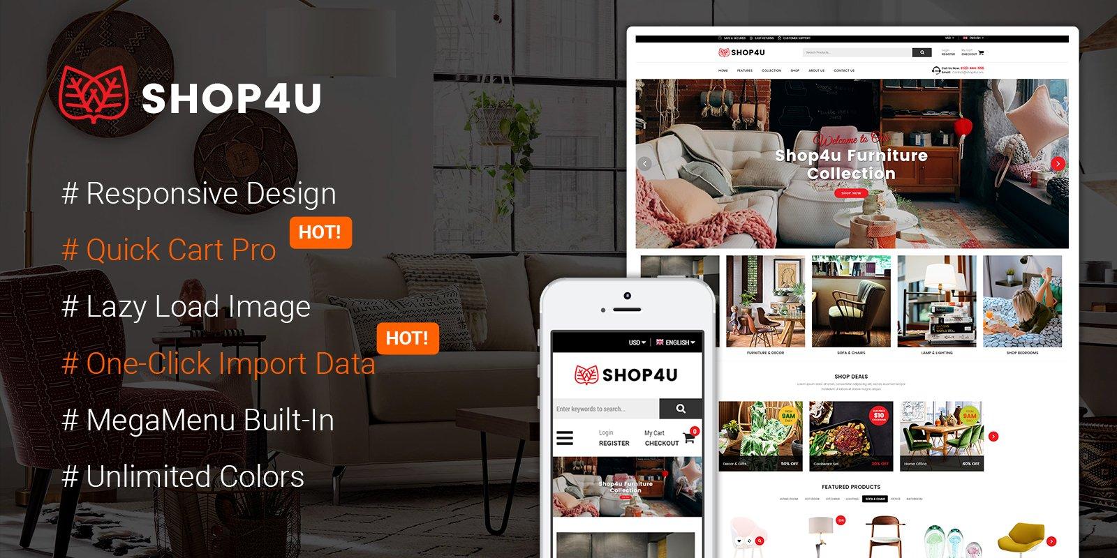 Magento Template: SM Shop4U - Gorgeous Responsive Magento 2 Theme