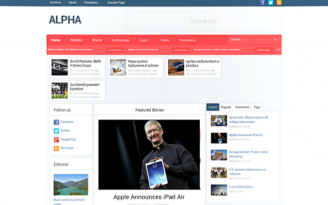 Wordpress Theme: Alpha
