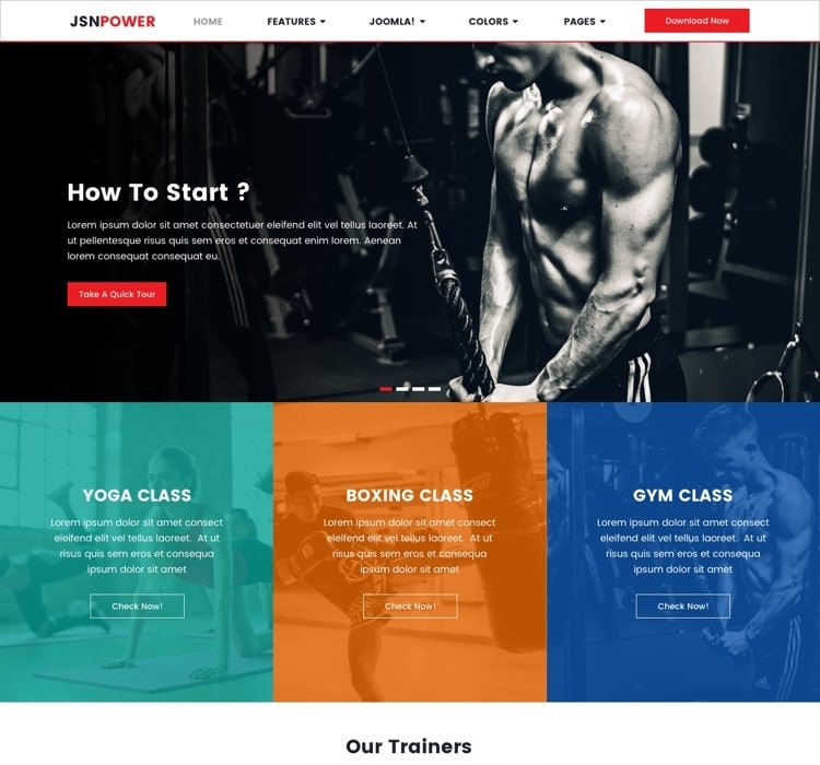 Joomla Template: JSN Power Template for fitness or ecommerce sites