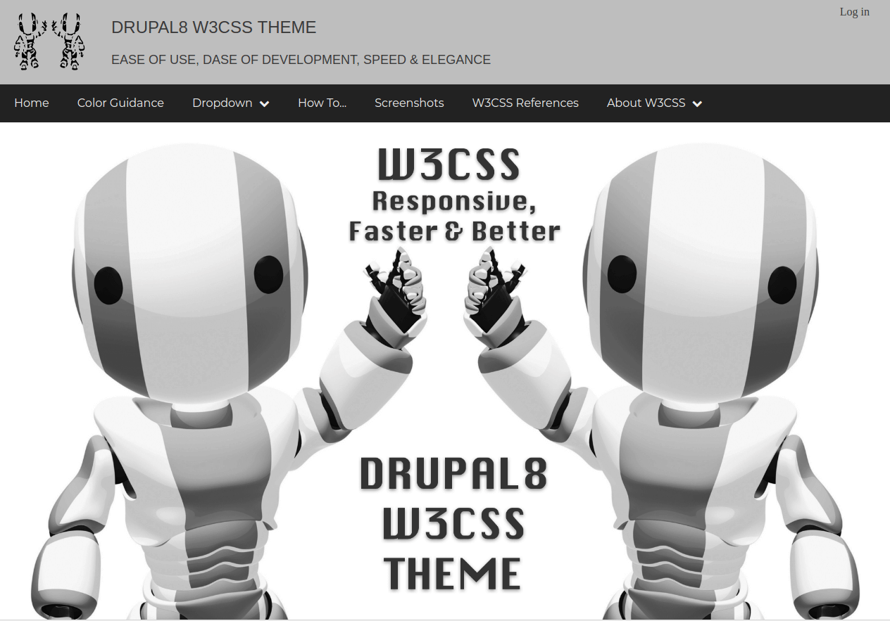 Drupal8 W3CSS Free Theme - drupal Template - ADD THEMES